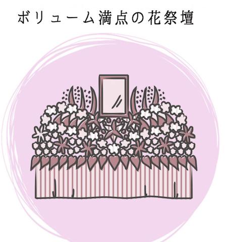 ボリューム満点の花祭壇が人気